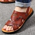 Мужские сандалии с ремешками на лодыжках  однотонные повседневные Нескользящие сандалии двойного назначения  пляжная обувь  для лета  2020