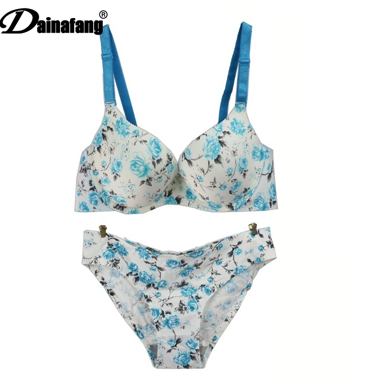 DAINAFANGLadies' Lace One-piece Seamless Bra Comfortable Seat Printed Top Brass Set ABC34 36 38 40 42 cups