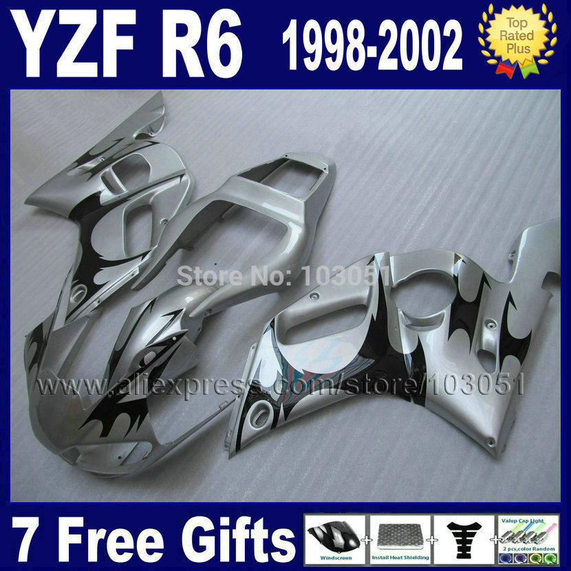 Custom Road moto fairing for YAMAHA YZFR6 1998 1999 YZF600 02 00 99 98 silver blk flame YZF R6  2000 2001 2002 fairings 7 gifts mfs motor front rear brake discs rotor for yamaha yzfr1 1998 1999 2000 2001 yzfr6 1998 1999 2000 2001 2002 yzf r6 98 02 gold