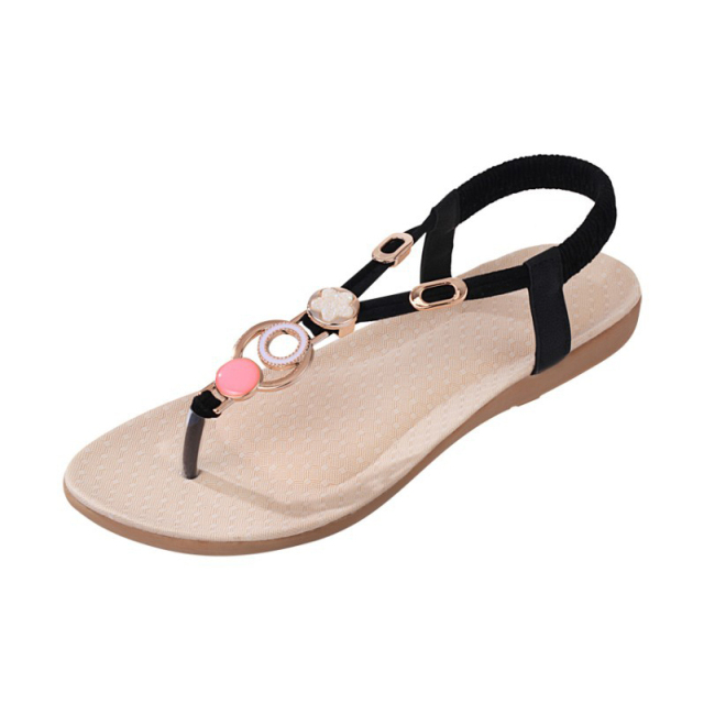 Women Sandals Flat Ankle-strap Shoes Women Summer Flip Flops Red Ring Bohemia Style Sandalias