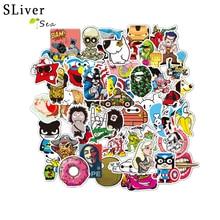 цены SLIVERYSEA Hot Sale 50Pcs Mixed Funny Cartoon Doodle Jdm Stickers Luggage Laptop Car Styling Bike DIY Waterproof Stickers #B1383