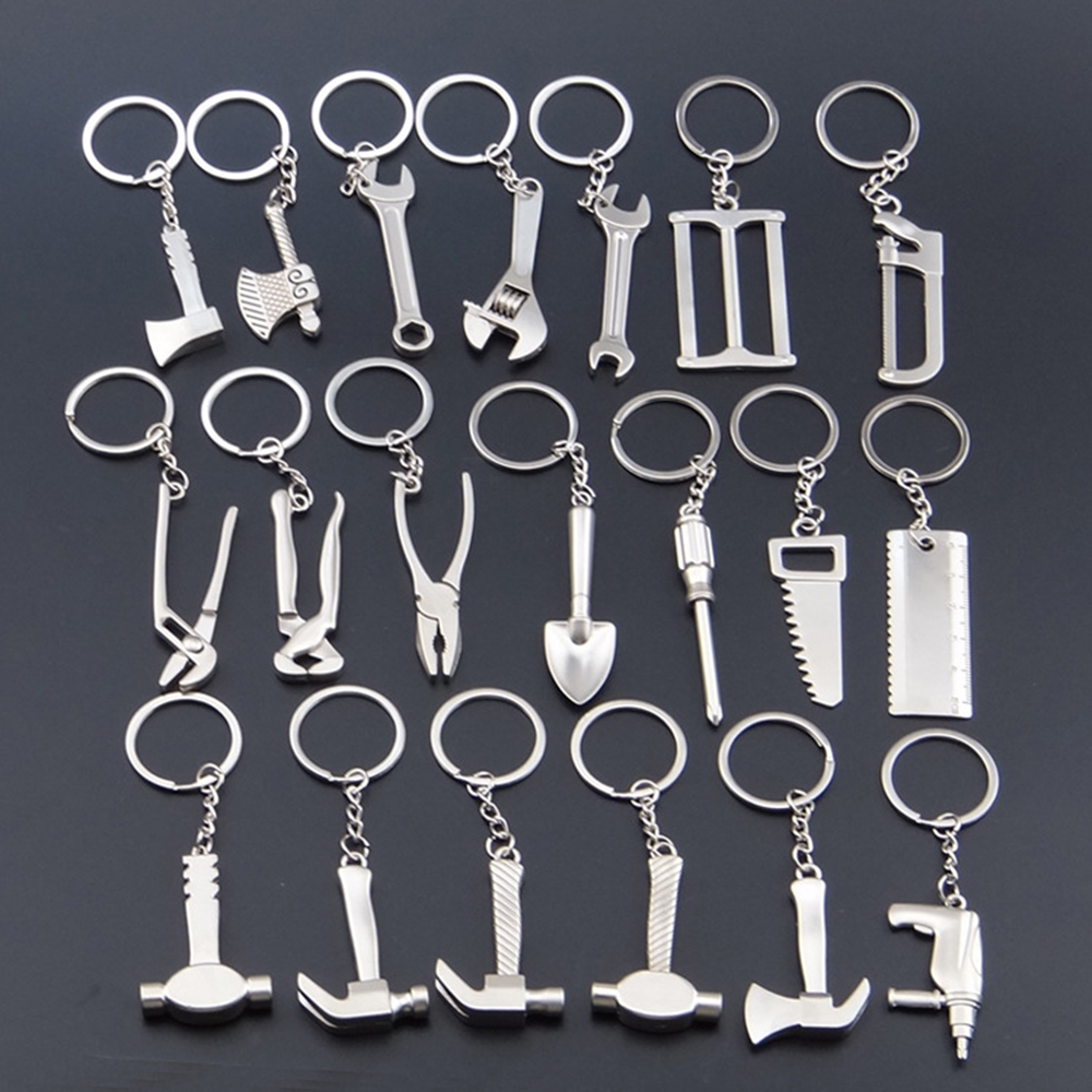 suti Portable keychain Tool High-grade Simulation Key Chain Rings Stainless Steel Wrench Shape Hammer Birthday Gift stainless steel mini wrench keychain with gift box