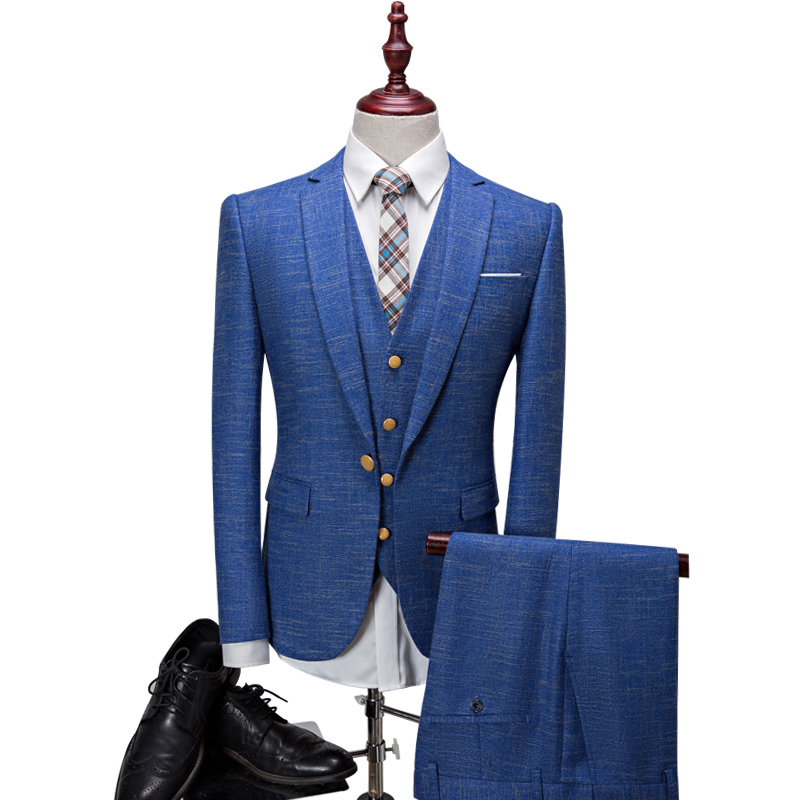Linen Suits Men Royal Blue Grey Snowdot Linen Men Dress Suit Slim