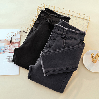 Высокая Талия рваные узкие зауженные джинсы женская обувь, Большие размеры Серый Черный мама растянуть джинсы женские джинсы Штаны джинсы ...