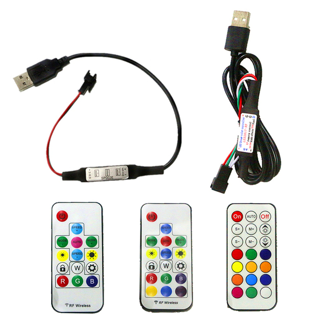 DC5V USB Pixel LED Strip Remote Controller Mini 3key RF 14key 17key 21key Controller For WS2812B SK6812 Pixel Full Color Strip