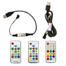 وحدة تحكم عن بعد صغيرة بشريط LED بالبكسل USB DC5V وحدة تحكم بـ 3 مفاتيح RF 14key 17key 21key لوحدة التحكم بالألوان الكاملة WS2812B SK6812 بيكسل