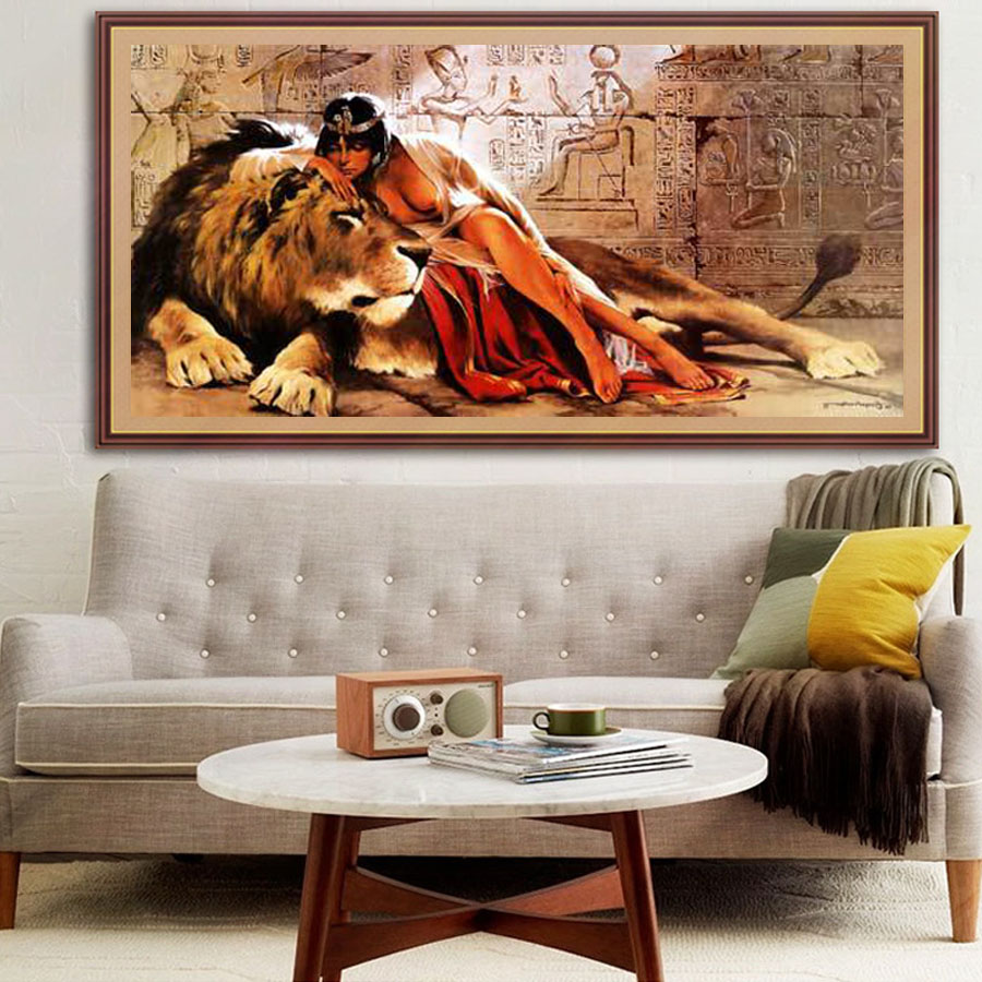 5d diamond Painting Beauty with Beast A girl with A Lion DIY Painting Handmade diy 5d diamond embroidery Home decor Pictures in Diamond Painting Cross Stitch from Home Garden