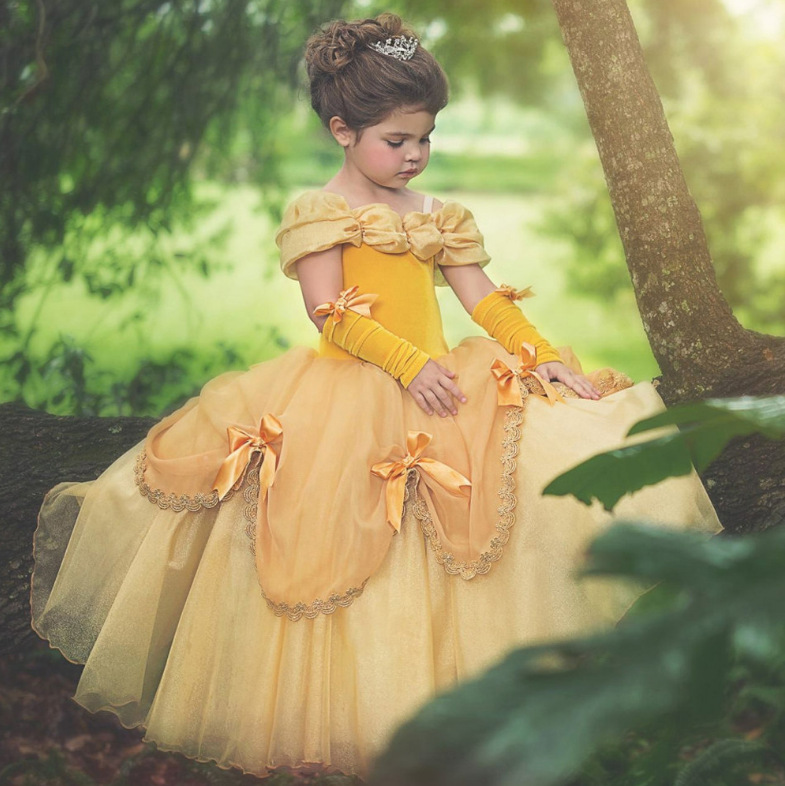 Beauty And Beast Cosplay Costume Princess Girl's Belle Dress High Quality Kids Yellow Halloween Dress Ball Gown Long Dresses