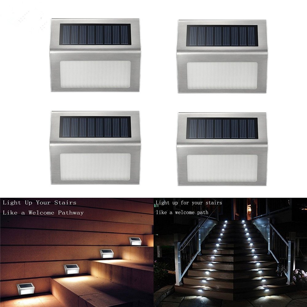 6X LED Alimentazione Solare Acciaio Inox RECINZIONE /& percorso Muro Luce Esterno Giardino Passo
