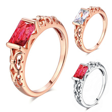 купить Fashion Cubic Zircon Ring Hollow Rose Gold Silver Big Red White Crystal Rings for Women Engagement Wedding party Jewelry gifts по цене 54.71 рублей