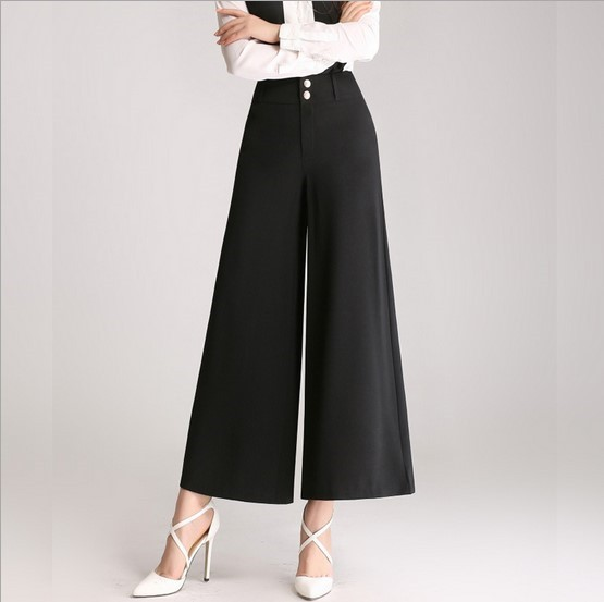 Office Ladies Formal Wide Leg Pants Dress Work Wear Flared Palazzo Pants High Waist Falda ...