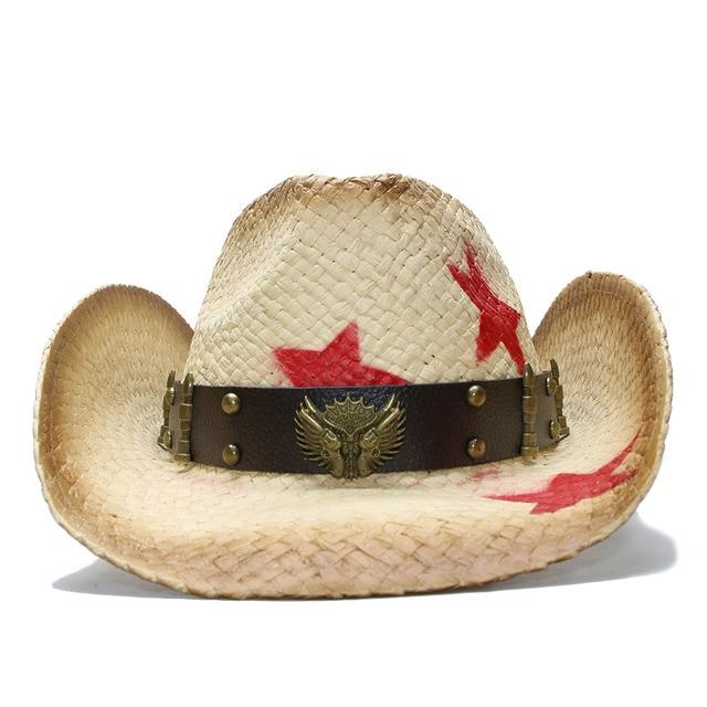 LUCKYLIANJI Retro Women s Men s Summer Straw Beach Wide Brim Cowboy Western  Cowgirl Hat Star Two Guns c31bf6a9f5a2