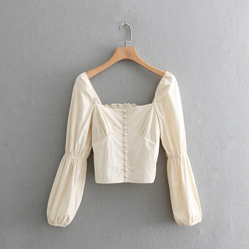 2019 Women Court Style Square Collar Casual Short Blouse Shirt Women Retro Puff Sleeve Elastic Chic Chemise Blusas Tops LS3273