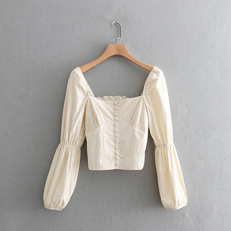 2019 women court style square collar casual short blouse shirt women retro puff sleeve elastic chic chemise blusas tops LS3273