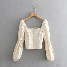 2020 frauen gericht stil quadrat kragen beiläufige kurze bluse shirt frauen retro puff hülse elastische chic chemise blusas tops LS3273