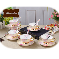 1 set Ceramic Cups And Saucers Coffee Cup Set British Afternoon Black Tea Set Porcelain Teacup With Stainless Spoon 6Z0P04