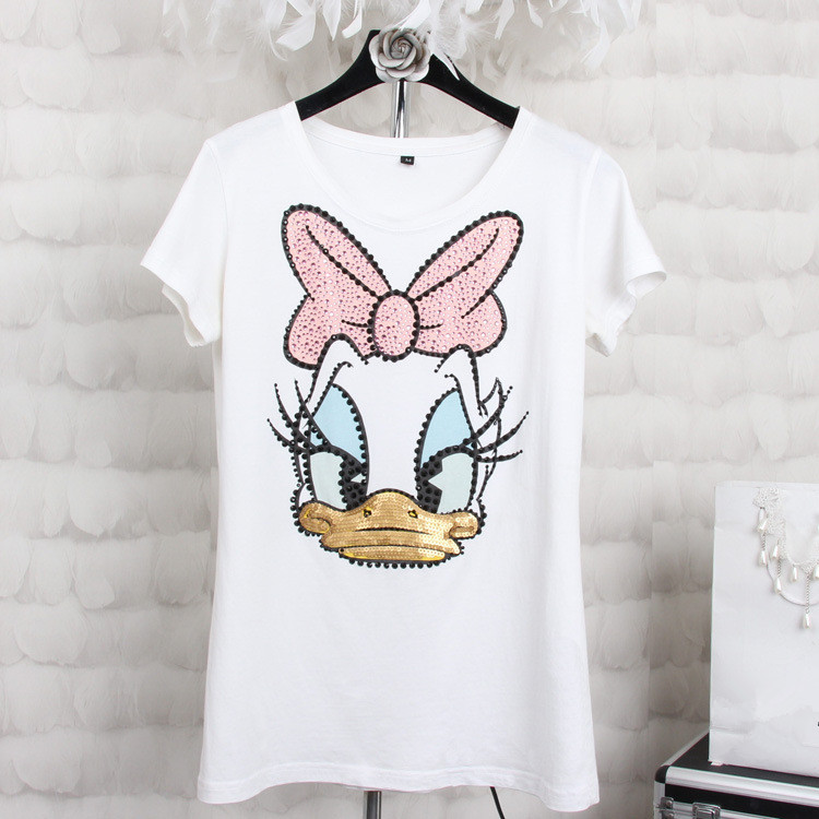 Plus size 4XL Women Summer Short Sleeve Sequined Donald Duck Print T shirts Fashion White Top Tees Women girls Designer Clothing Накомарник
