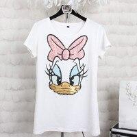 Plus Size 4XL Women Summer Short Sleeve Sequins Cartoon Print T Shirts Fashion Loose White Top
