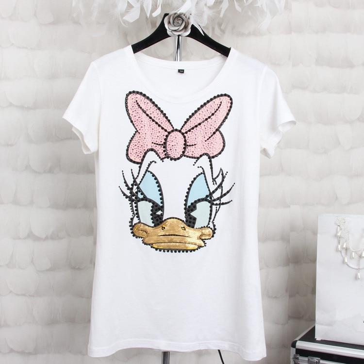 Plus Size 4XL Women Summer Short Sleeve Sequined Donald Duck Print T Shirts Fashion White Top Tees Women Girls Designer Clothing