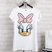 Plus size 4XL Women Summer Short Sleeve Sequined Donald Duck Print T shirts Fashion White Top Tees Women girls Designer Clothing(China)
