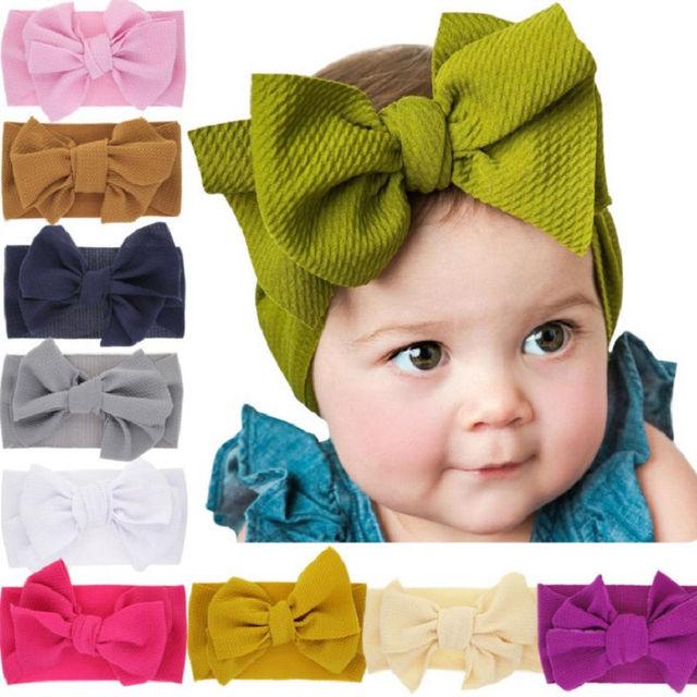 big bow newborn bow toddler bow White  bow headwrap fabric stretch head wrap,baby bow