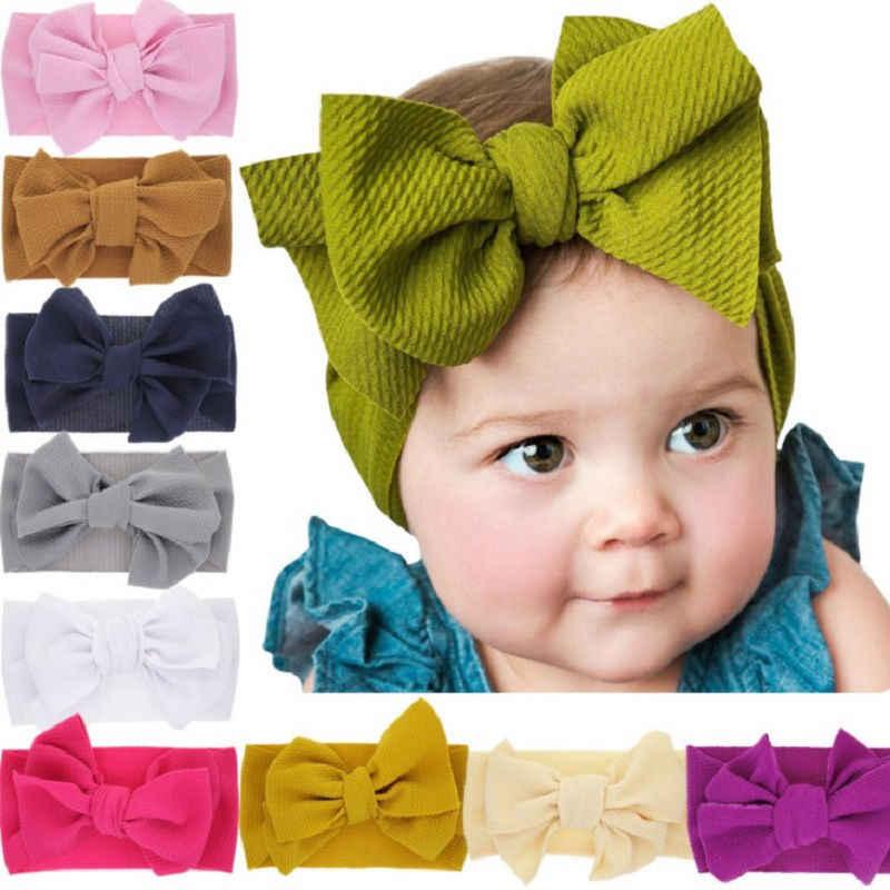 Diadema de lazo grande para niñas, turbante elástico para bebés, turbante elástico DIY para niños, diadema de tela elástica, turbante para bebés HB345S