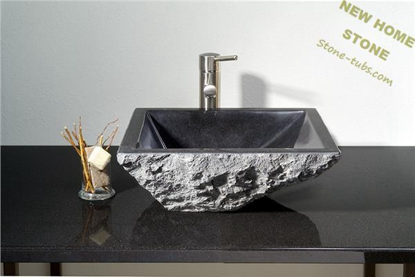 Natural stone vessel sinks square shape block cut out absolutly black granite stone vanity sink for Black granite vessel bathroom sinks