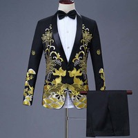 2 Pieces Set 2019 men's Chinese dress stage host singer costumes ceremonial embroidered suit Prom Party Suits Wedding 1283