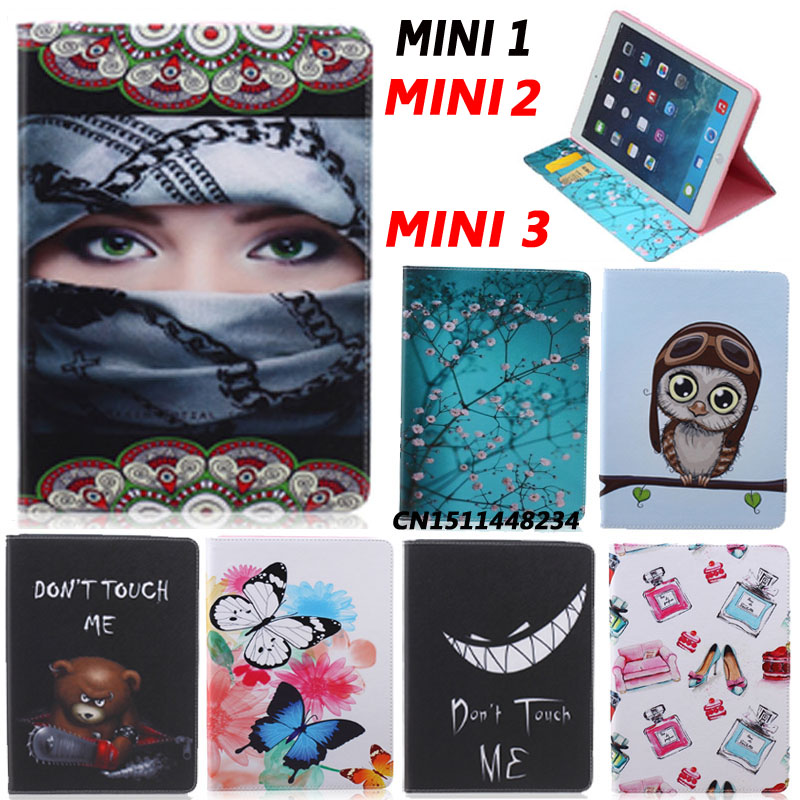 New Fashion Painting Designer Case For Apple Ipad Mini 2 3 ipad Mini1 Retina Luxury Smart Cover Leather Flip Stand Case+film+pen stand flip leather case for apple ipad mini 2 smart cover case gumi brand screen protectors stylus pen