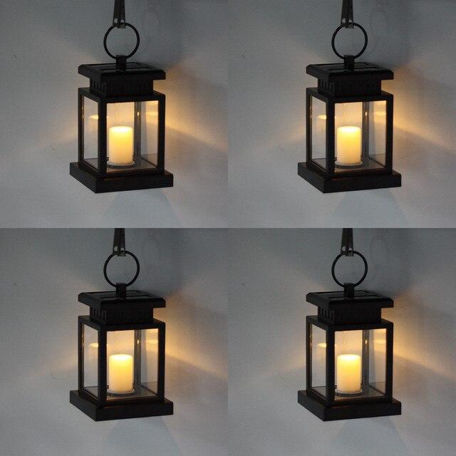 4pcs Solar Garden Decoration Lights For Umbrella Tree Fence Lantern Hanging Lamp Warm White Yard