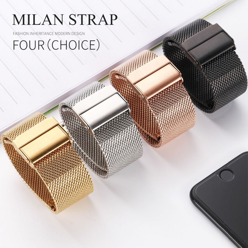 Milanese Watchband 18mm 20mm 22mm 24mm Universal Stainless Steel Metal Watch Band Strap Bracelet Black Rose Gold Silver MU SEN top quality new stainless steel strap 18mm 13mm flat straight end metal bracelet watch band silver gold watchband for brand