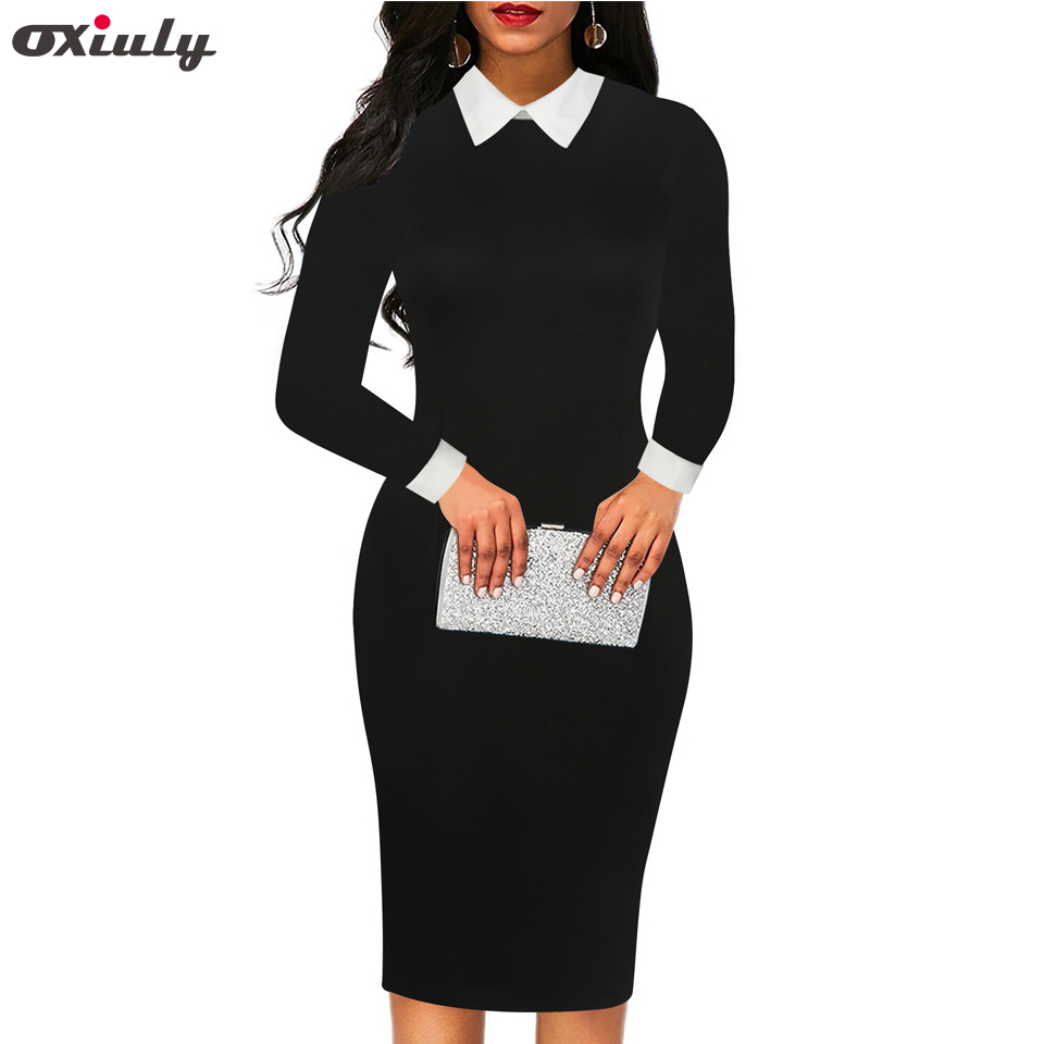 Oxiuly 50s 60s Turn Down Collar Black Solid Dresses Vintage Spring Autumn Casual Shirt Sheath Dress Vestidos Women Clothes 2018