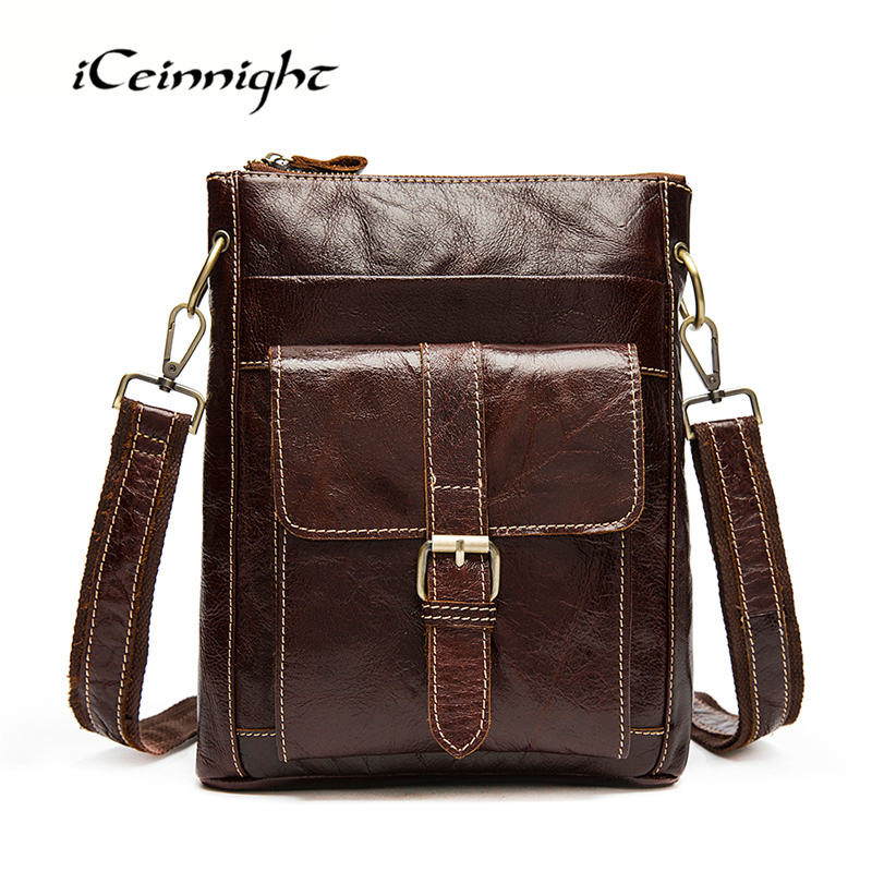 ФОТО iCeinnight Famous Brand 2016 New Men's Vintage Genuine Leather Messenger Bag Men Male Cowhide Shoulder Crossbody Mini Travel Bag