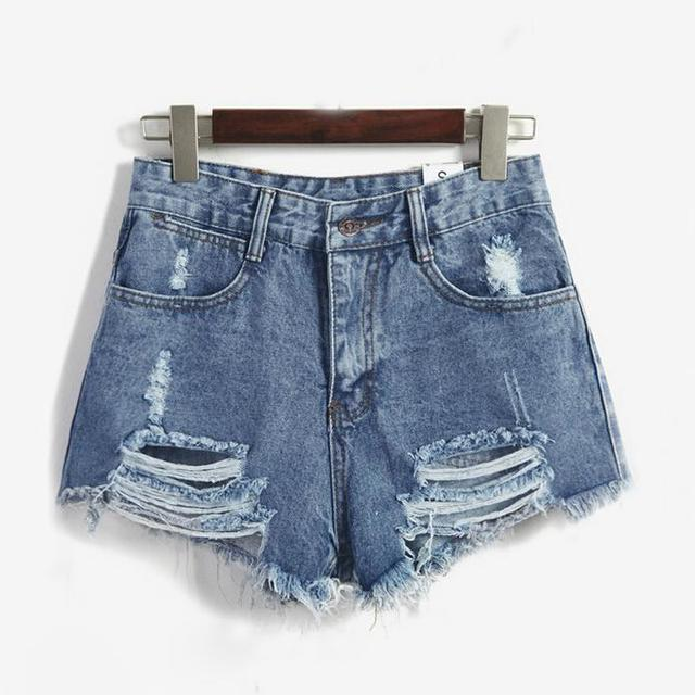 Europa y américa BF femenino de viento de verano azul high waist denim shorts mujeres worn loose trepanación pantalones cortos