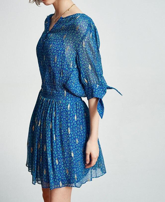 Women Dress Round Neck Sleeve Tie Fashion Printed Silk Dress