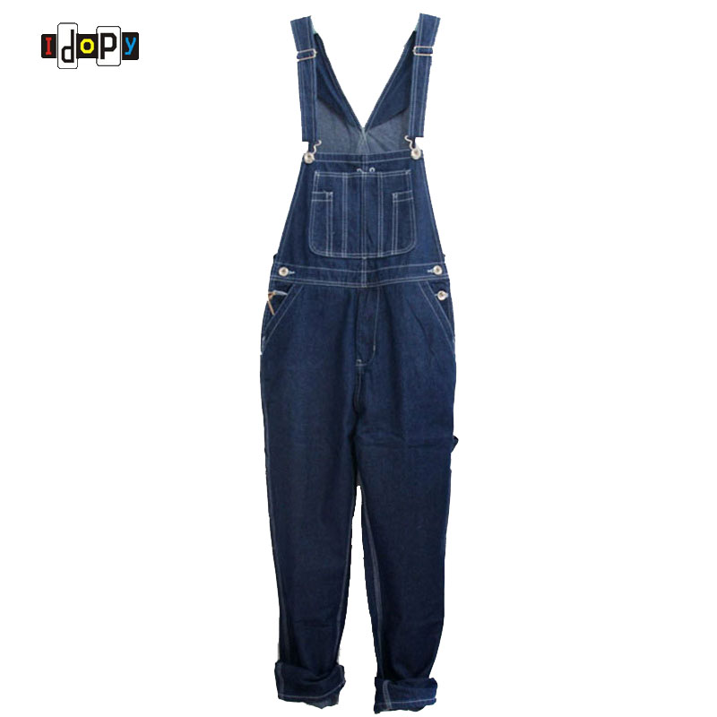 Men`s Loose Plus Size Denim Bib Overalls Men Multi Pockets Washed Vintage Oversized Jumpsuits For Men Big and Tall men s plus size s m l xl xxl 3xl 4xl denim shorts casual pocket overalls loose jumpsuits bib pants