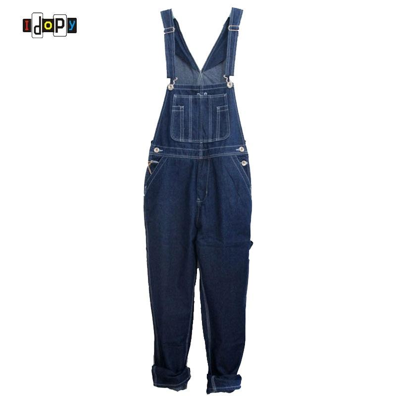 Men`s Loose Plus Size Denim Bib Overalls Men Multi Pockets Washed Vintage Oversized Jumpsuits For Men Big and Tall