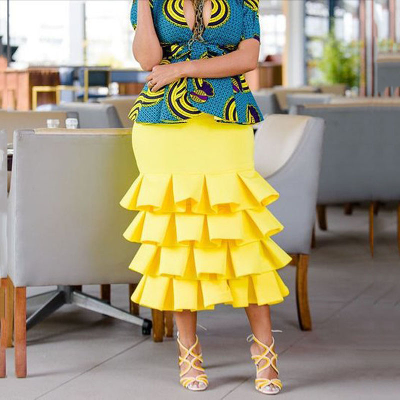 Yellow Plus Size Trumpet Women's Skirts Satin Ruffle Mid-Calf Engagment Skirt Custom Made Formal Party Skirts 2018