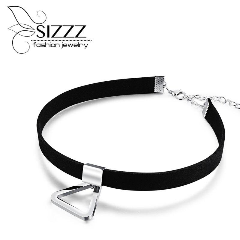 Sizzz 30 см длинные Для женщинs ключицы ожерелье диких воротник Треугольник короткое ожерелье цвет золотистый покрытие для Для женщин