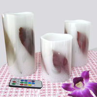 flamelesss wireless led candle light, made by real wax and leaf inlay,RGB remote (timer/on/off/color option),3 pcs 1 set