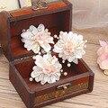 3 pcslot flor da argila handmade flor cocar de noiva enfeite de cabelo de cristal cabelo clip nova verão fresco doce jóias da coroa do casamento