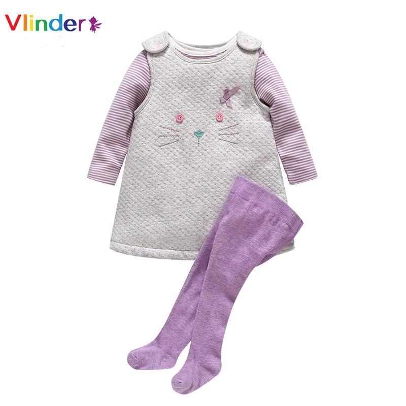 Vlinder 2018 Ny 3st Baby Set Infant Baby Girls Vår Höst Kläder Lång Ärmar Stripe Bodysuit Cat Vest Snygg Baby Pantyhose