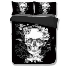 Wongsbedding Brand Black 3D Skull Bedding Sets With Flower Duvet Cover Bedclothes Single Full Queen King Size 3PCS New Design