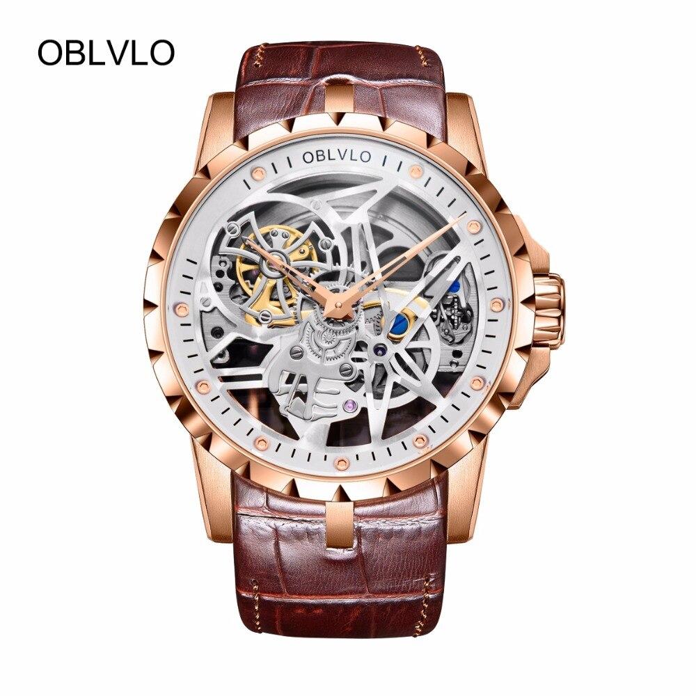 OBLVLO esqueleto relojes militares hombres pantalla analógica Tourbillon automático relojes correa de cuero marrón RM-1