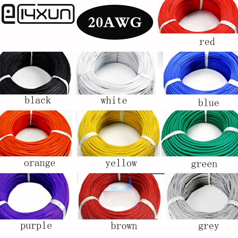 EClyxun 20meters 20 AWG Flexible Silicone Wire Cable 0.5mm2 High Temperature Max 200 Degrees 600V Test Line Wire 10 ColorEClyxun 20meters 20 AWG Flexible Silicone Wire Cable 0.5mm2 High Temperature Max 200 Degrees 600V Test Line Wire 10 Color