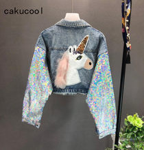 Cakucool Berat Baru Payet Mantel Denim Wanita Kartun Unicorn Embroid Jaket Jeans Crop Top Mengkilap Bling Jaqueta Casaco Feminino(China)