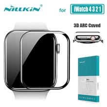 Para iwatch série 4 3 2 1 vidro nillkin 3d aw + hd cobertura completa protetor de tela de vidro temperado para apple watch 38mm 40mm 42mm 44mm