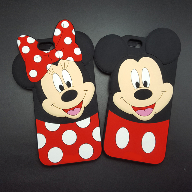 Cartoons Mickey Minnie Mouse Bow Knot Soft Silicone Phone Case For
