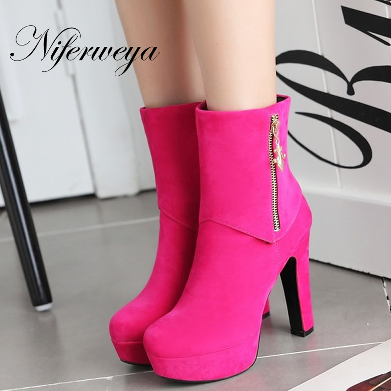2016 Fashion winter women shoes big size 33-45 sexy red Platform high heels solid flock Round Toe ladies Ankle boots HLE-Q11