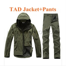 Hommes TAD Militaire Tactique Softshell Veste Imperméable Pantalon de Randonnée En Plein Air Requin Peau Vêtements Vert